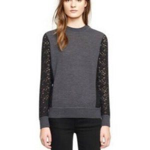 Tory Burch Grey Kammy Sweater with Lace Sleeves